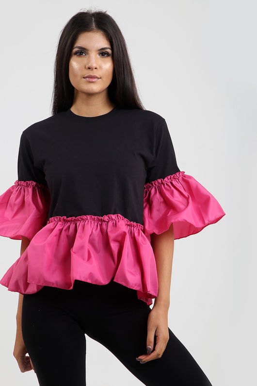 Zara Frill And Sleeve Top