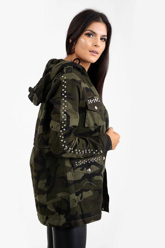 Army Print Silver Studded Festival Jacket