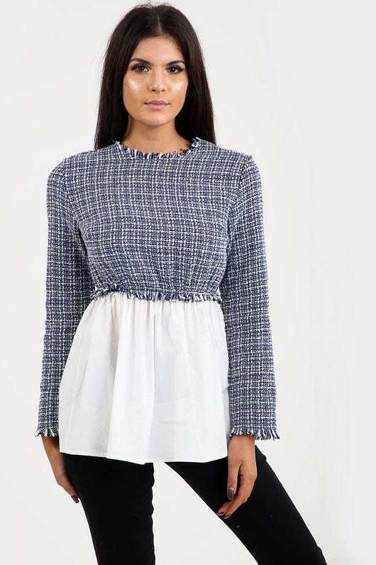 Tweed Contrast Shirt Top