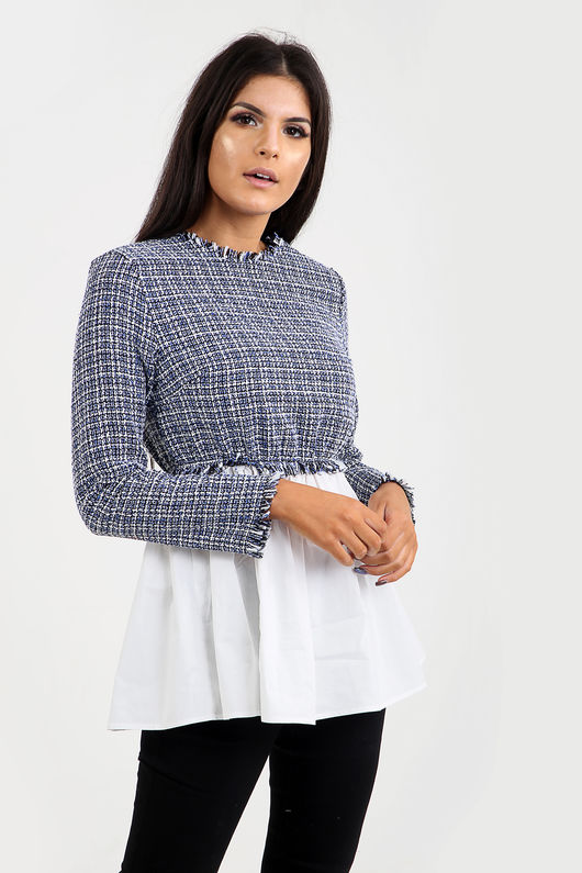 Tweed Contrast Shirt