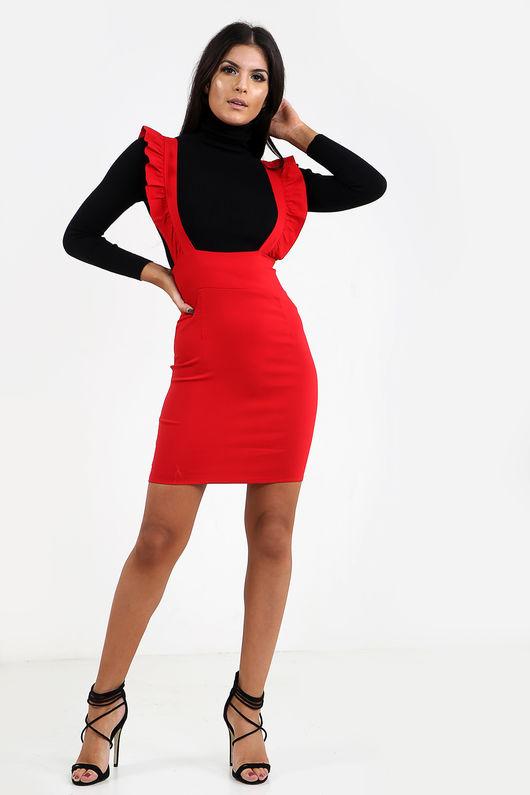 Frill Shoulder Pinafore Dress