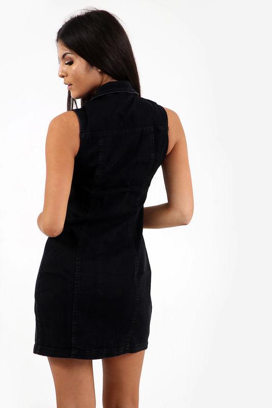 Longline Denim Button Through Dress