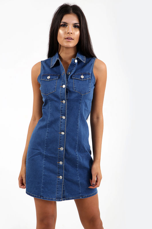 Callie button through denim pinafore dress