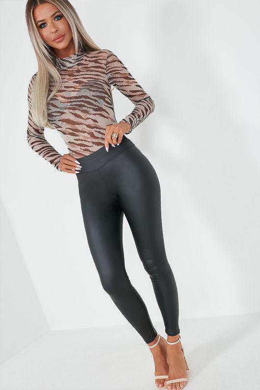 Zebra Print Mesh Bodysuit