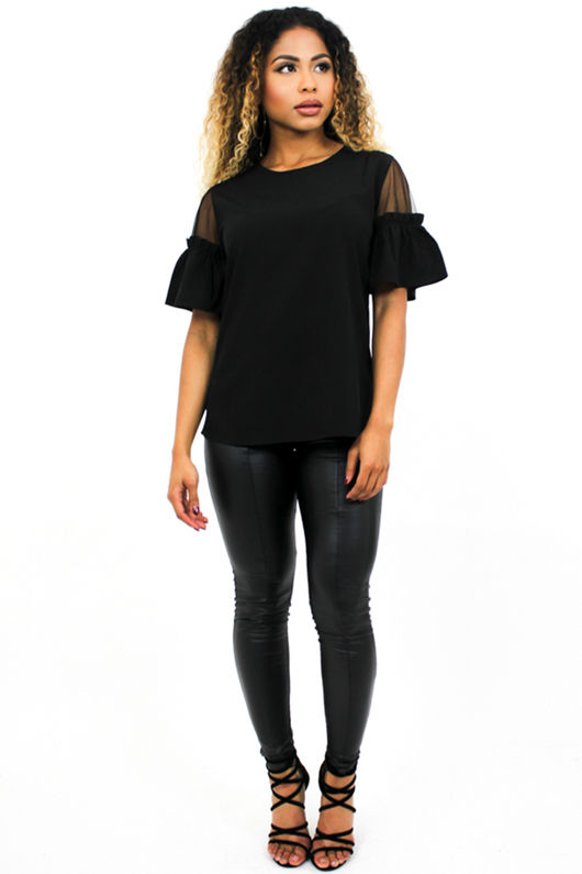 Black Mesh Insert T-Shirt