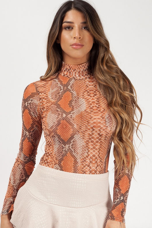 Mesh orange snake print Body suit