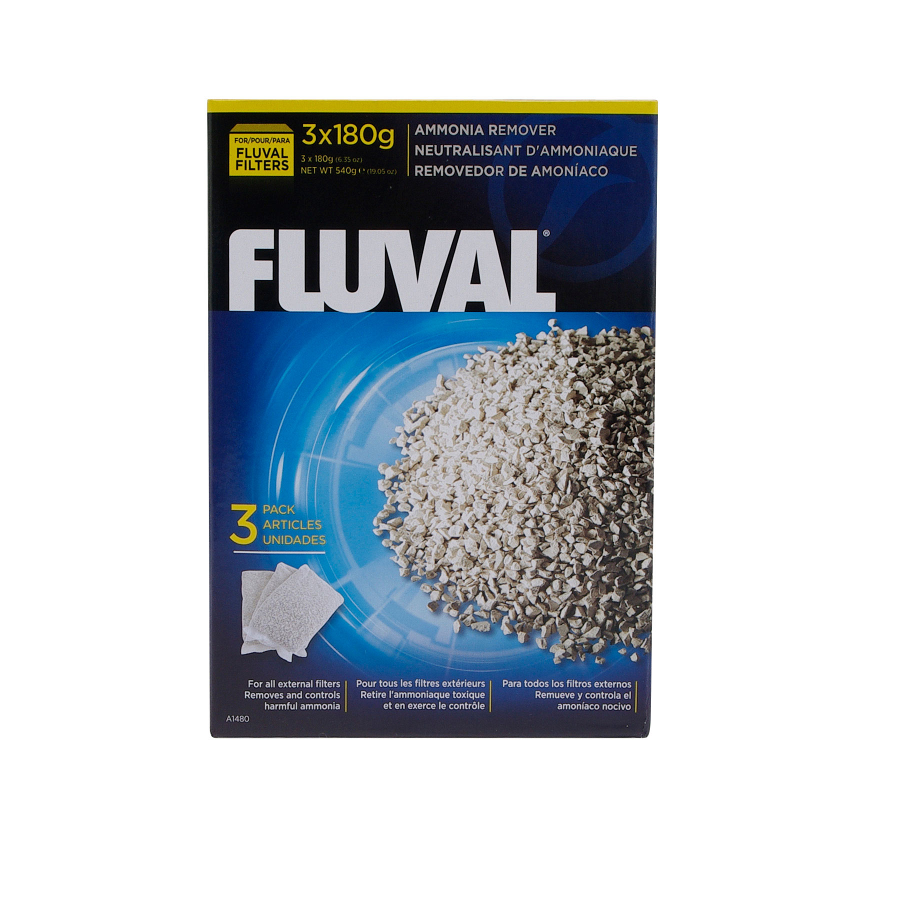 Fluval Ammonia Remover 3 x 180g Nylon Bags