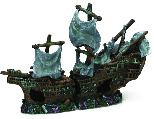 Large Galleon Shipwreck With Sails (42 x 14 x 26 cm)