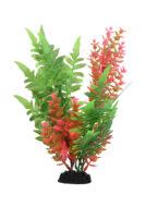 AquaManta Plastic Plant - Green Fern/Pink Hyrophilia (30cm)