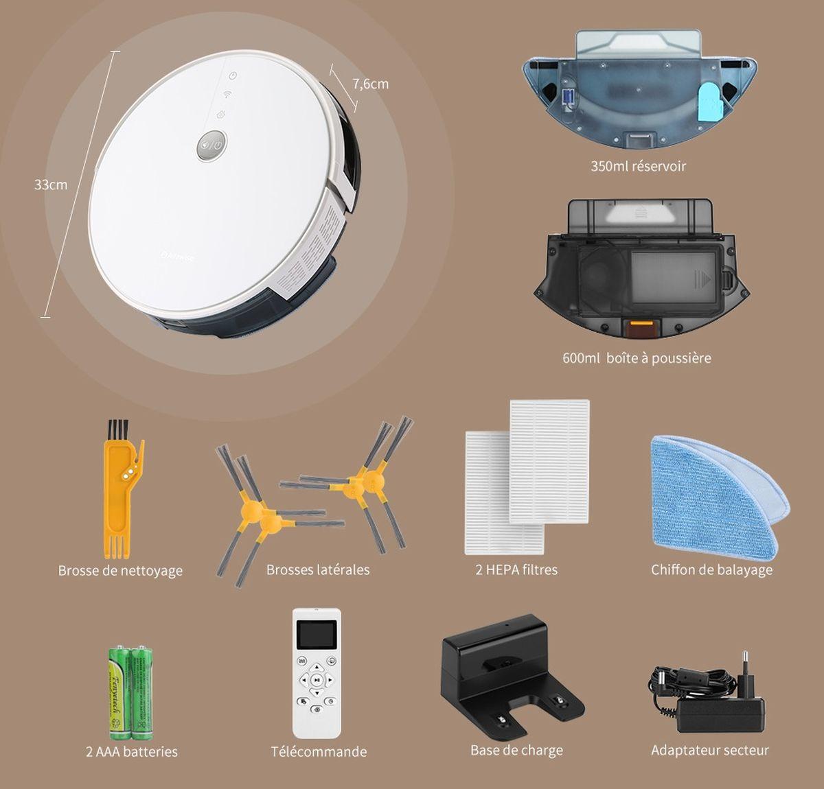 Alfawise V8S PRO E30B est un robot aspirateur qui vous propose une cartographie intelligente pour un nettoyage en profondeur.