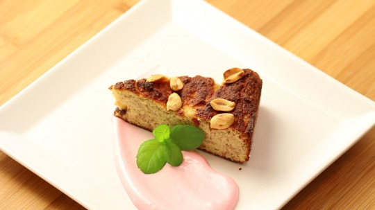 Rezept: Low Carb Banana Cake with Peanuts and Cranberries