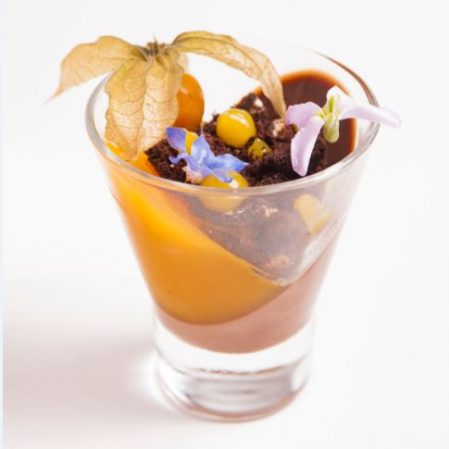 Dark Chocolate Panna Cotta, Orange Jelly, Double Chocolate Crunch, Orange Gel, Poached Kumquat with Edible Flowers