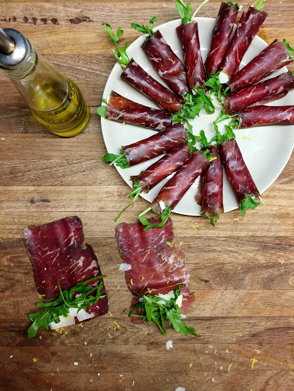 Bresaola, rocket (arugola) and parmesan cicheti