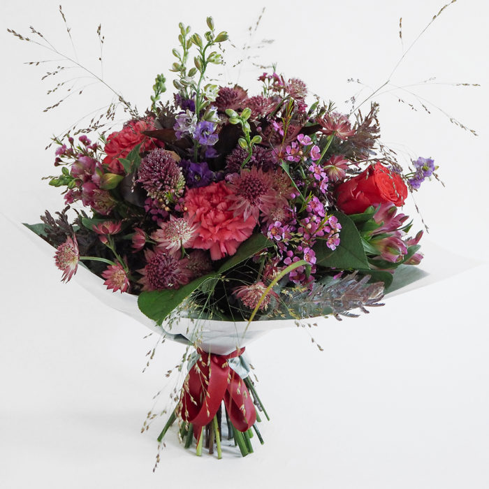 Floom Mad Lillies Bouquet Red Astrantia 1