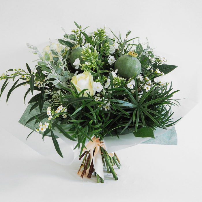 Floom Mad Lillies Bouquet White Green Poppy Pod 1