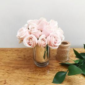 Floom Shilpa Reddt Pink Rose Silver Vase 2