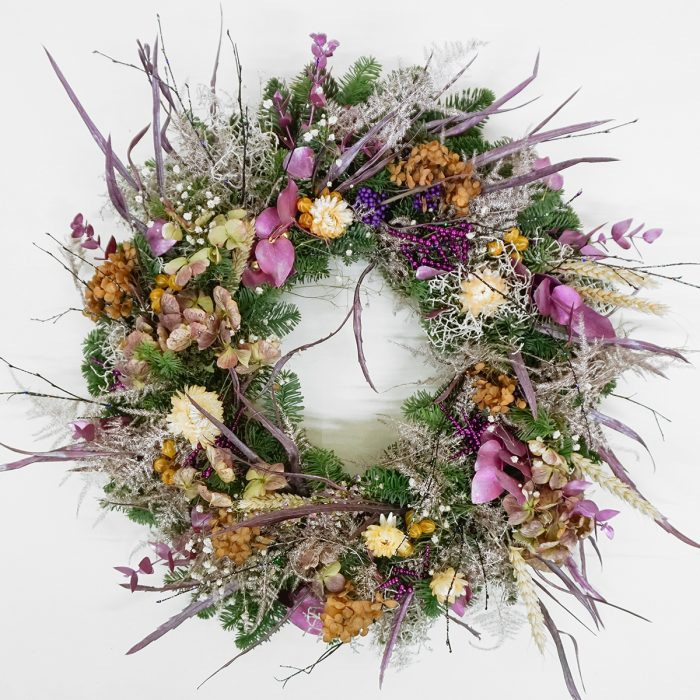 Floom Alice Mccabe Christmas Wreath Purple Paper Daisies 1