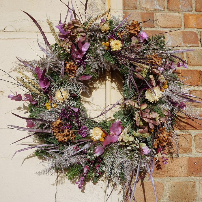 Floom Alice Mccabe Christmas Wreath Purple Paper Daisies 2