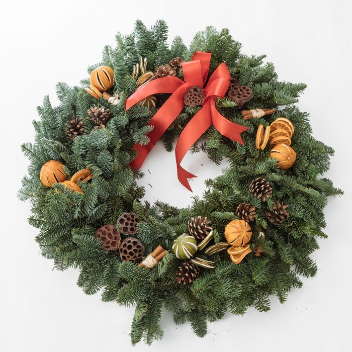 Floom Queens Park Station Flowers Christmas Wreath Red Orange 1