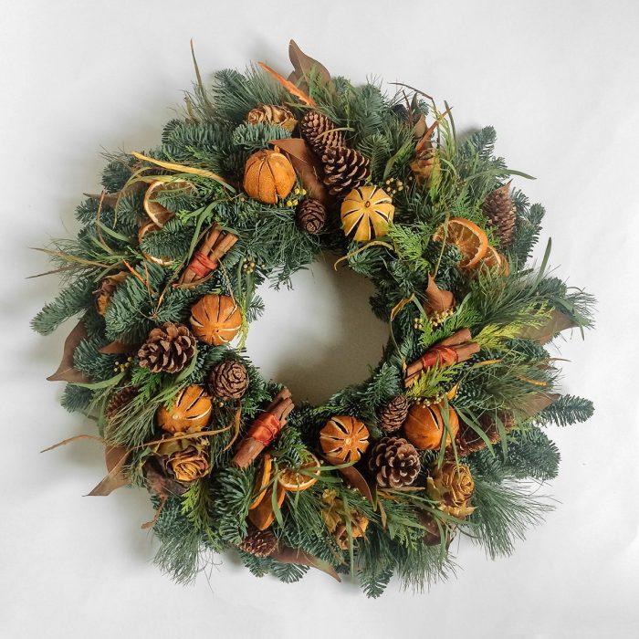 Floom Rose Mary Christmas Wreath Orange Cinnamon 1