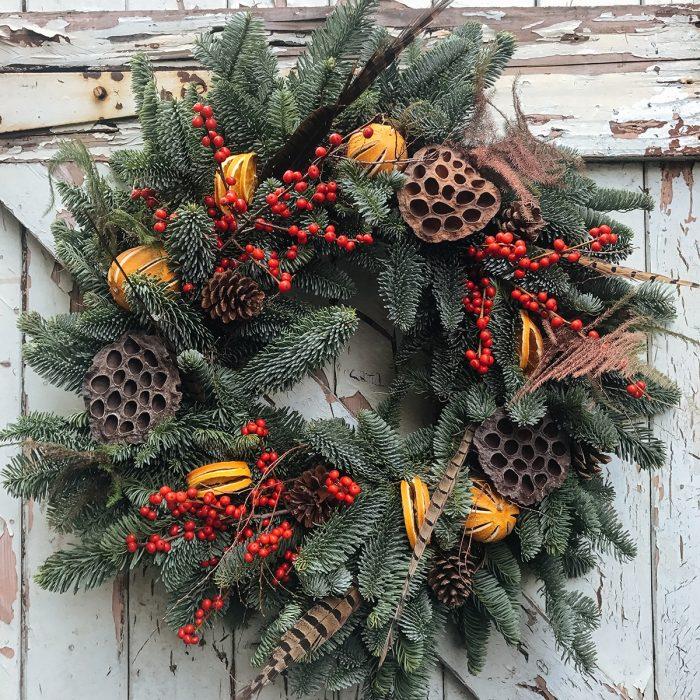 Floom Love Flowers Ibex Orange Wreath 2