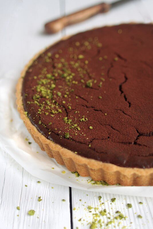 Chocolate-Pistachio-Cheescake {flowers on my plate}