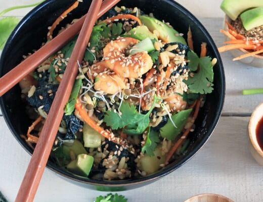 Sushi Salat {flowers on my plate}