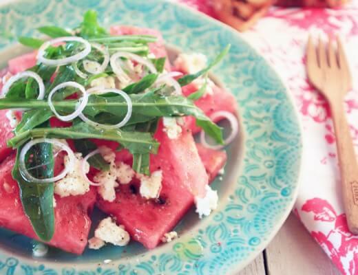 Wassermelonen & Feta Salat {flowers on my plate}
