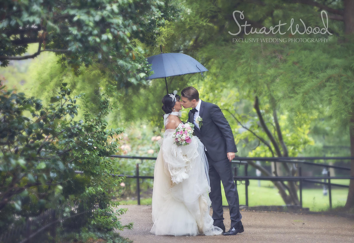 Stuart Wood Weddings / Chelsea Town Hall Weddings / Belvedere Holland Park Weddings / T&P Rain Kiss