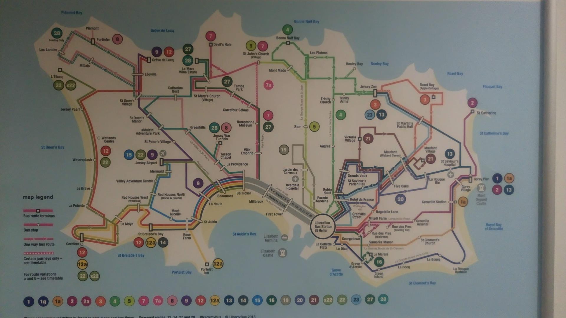 Mappa degli autobus di Jersey