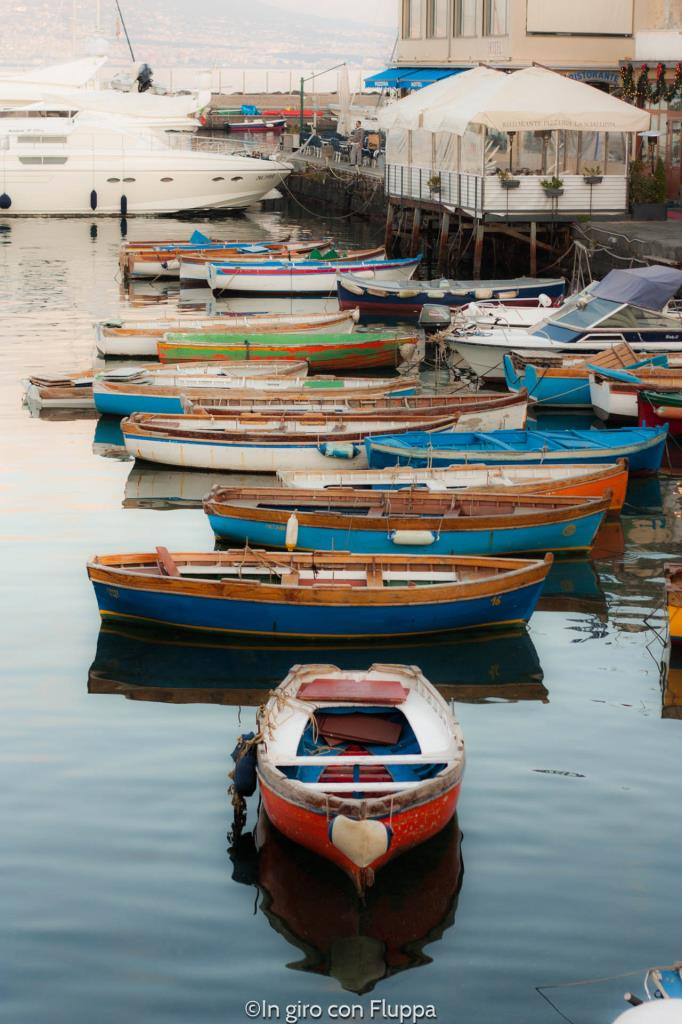 Boats docked at Castel dell'Ovo