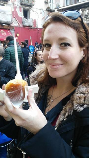 Via dei Tribunali - pasticceria Capparelli, me eating a baba'