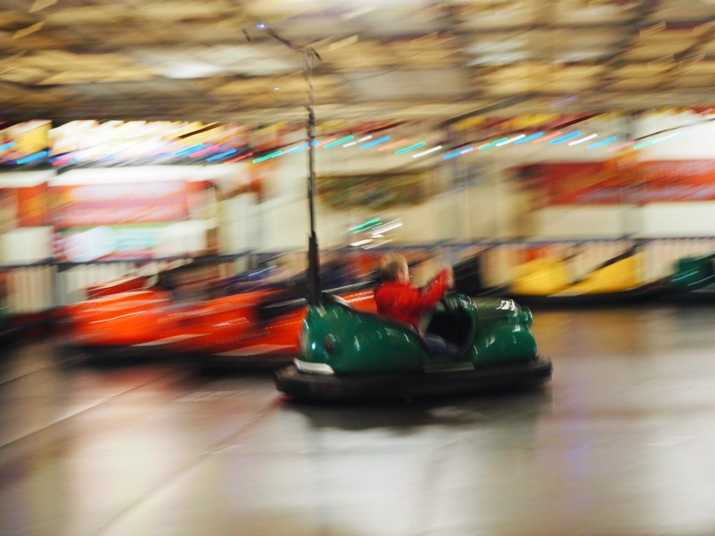 Boy on Folly Farm bumper cars