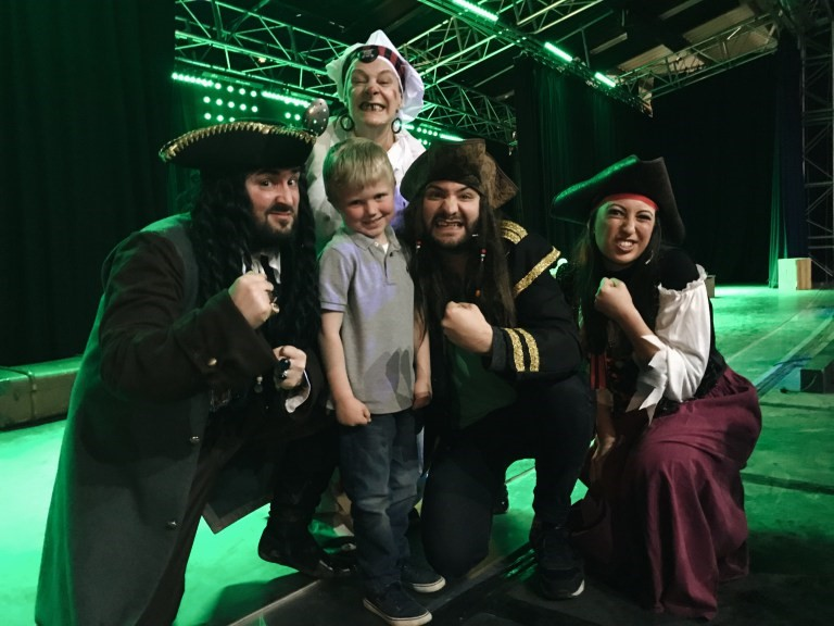 Boy meeting Folly Farm's pirates
