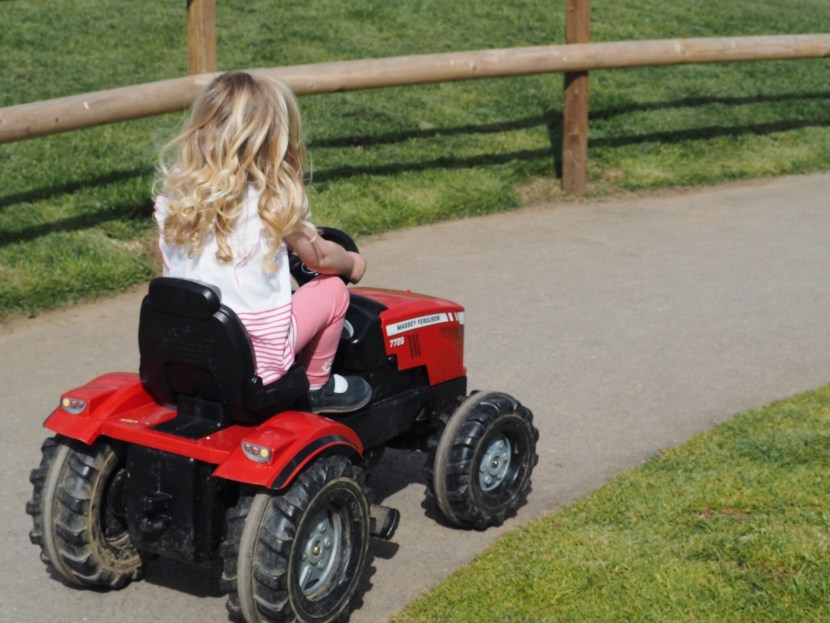 Girl riding pedal tractor