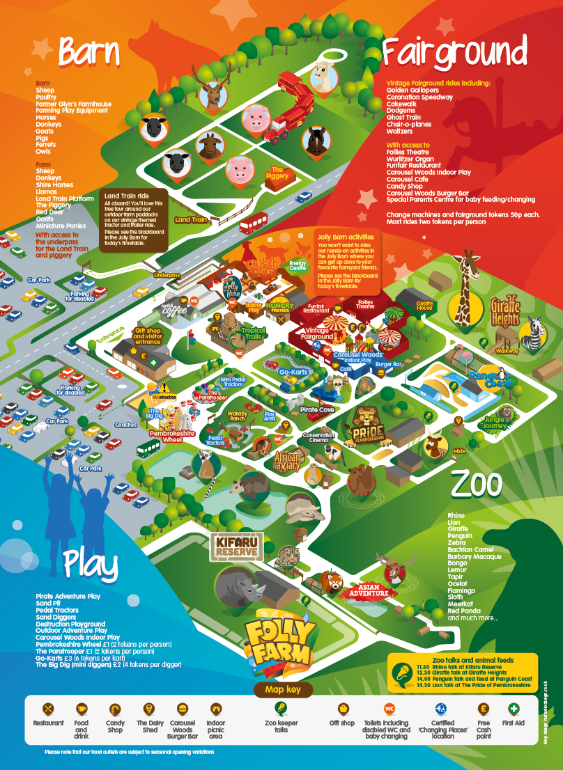 Map Of Folly Farm Adventure Park And Zoo In Pembrokeshire