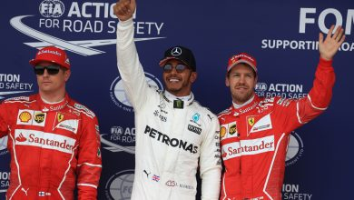 Lewis Hamilton Sebastian Vettel Kimi Raikkonen Mercedes Ferrari British Grand Prix Silverstone
