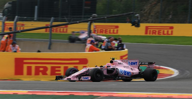 Sergio Perez Esteban Ocon Force India Belgian Grand Prix