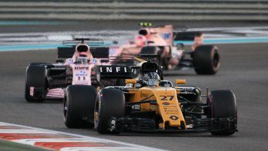Nico Hulkenberg Renault Sergio Perez Esteban Ocon Force India Abu Dhabi Grand Prix
