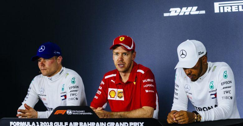 Sebastian Vettel Ferrari Lewis Hamilton Mercedes Valtteri Bottas Bahrain Grand Prix