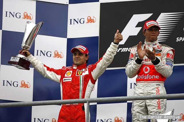 Felipe Massa Ferrari Lewis Hamilton McLaren 2008 Belgian Grand Prix Formula One