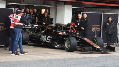 Haas Grosjean testing magnussen