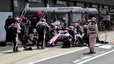 Sergio Perez, Racing Point RP19 pit stop Silverstone British Grand Prix