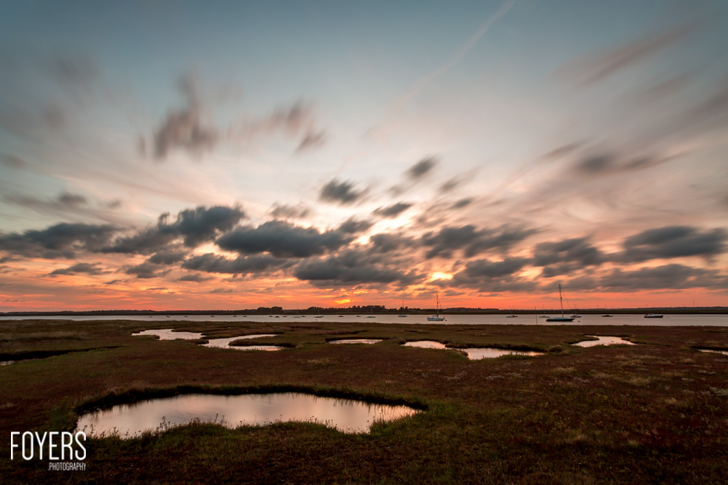 Sunset over the river Alde from Aldeburgh