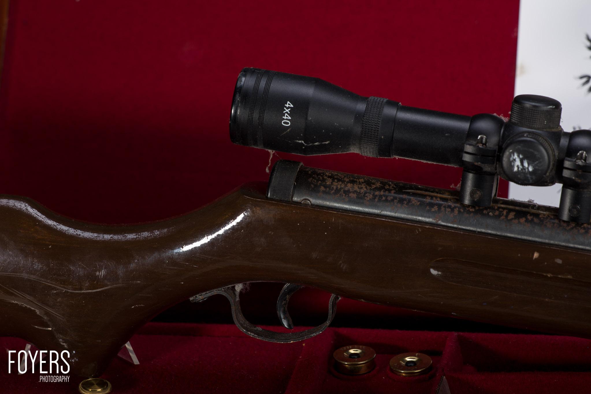air rifle on gun case-2 - copyright Robert Foyers