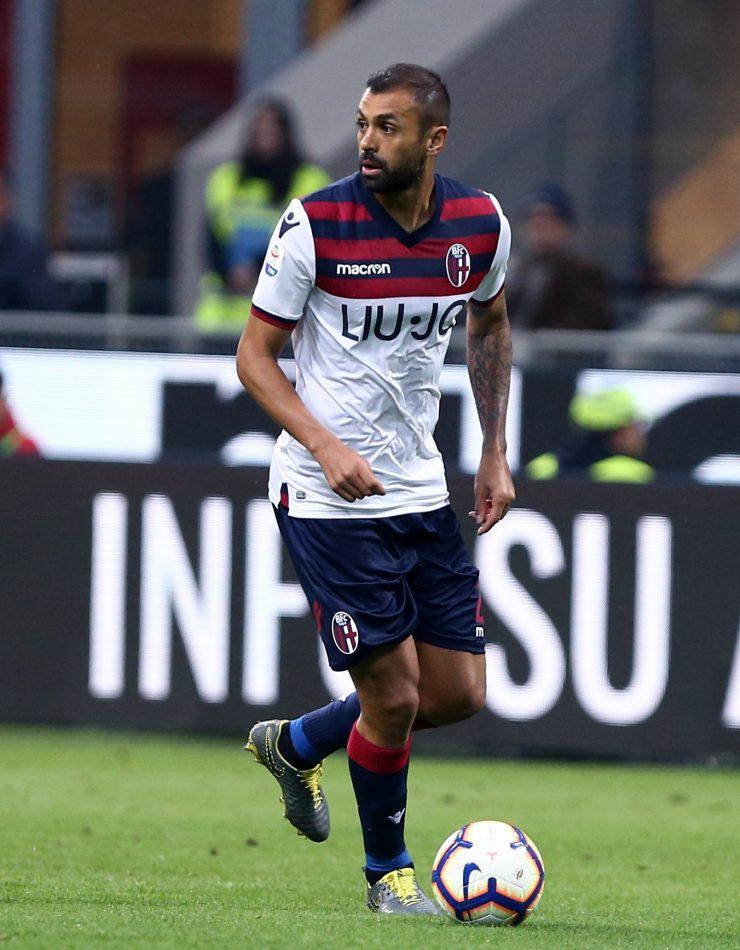 Gara Di Seria A Tra Milan E Bologna Allo Stadio San Siro Di Milano. Danilo In Azione.