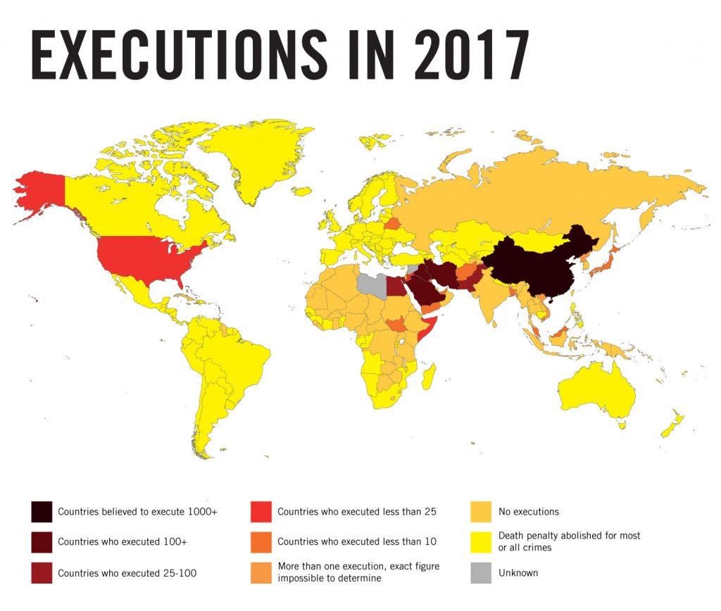 Maailmankartta, joka korostaa valtioita, jotka käyttävät kuolemanrangaistusta