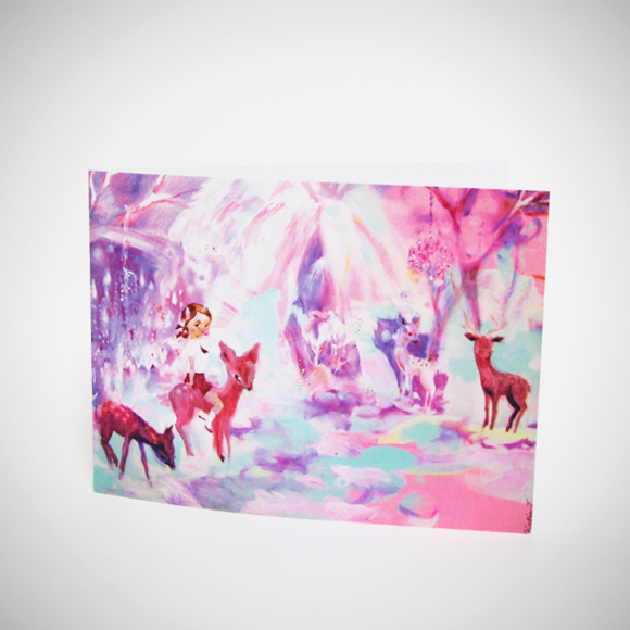 Kuvassa kortti, jossa Idylli-maalaus