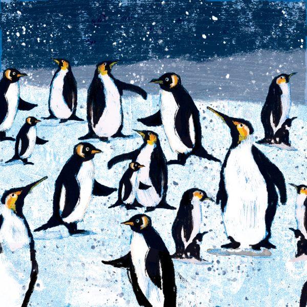 Kuvassa joulukortti, jossa pingviinejä.