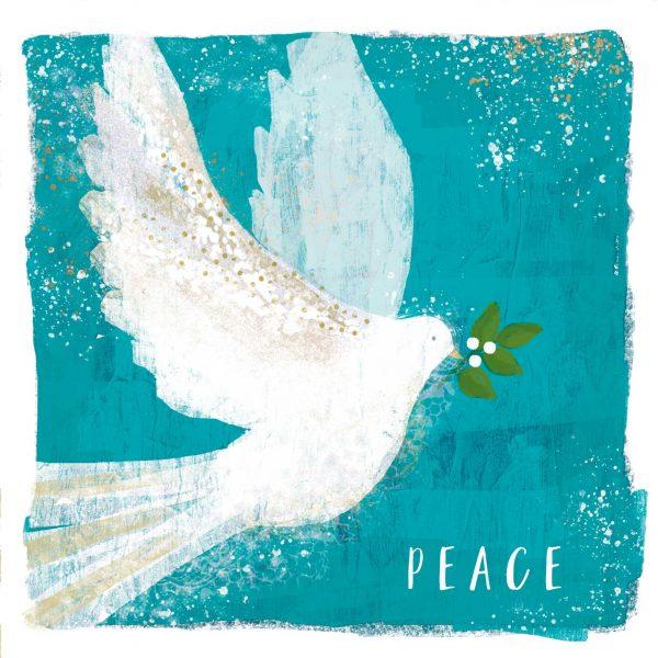 Kuvassa joulukortti, jossa rauhankyyhky.